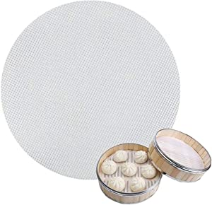 6 Pcs 10 inch Non stick Silicone Steamer Liners Mesh Mat Pad Silicone Steamer Mat Reusable Steamed Dim Sum Dumplings Baking Pastry for home or Restaurant