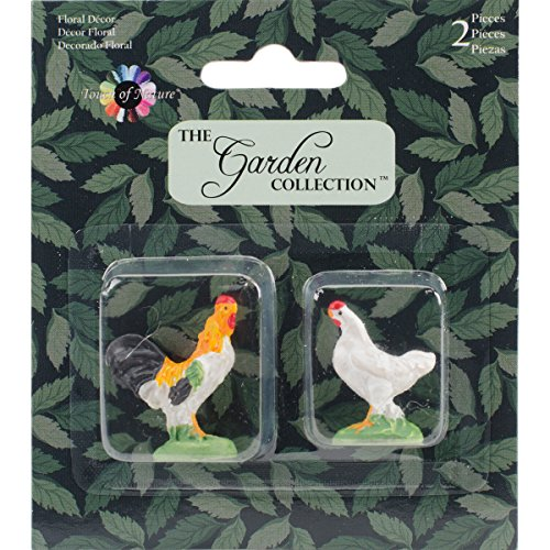 1 Inch Miniature Garden Rooster & Chicken Set, 2Pc Miniature Chicken