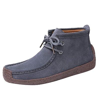 Baskets en Daim Femme,Rétro Chaussures Plates Confortables à Lacets de Couleur  Unie Bringbring c3eae87788b8