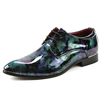 Bangxiu Zapatos de Cuero de los Hombres Cuero de la PU Business Oxfords Suave Pintura Abstracta Zapatos Clásico con Cordones Mocasines Forrados Zapatos de ...