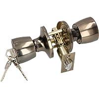 KOTARBAU Deurknop met slot, metaal, draaiknop, cilindervergrendeling, rond, draaibaar, slot, greepslot met 3 sleutels…
