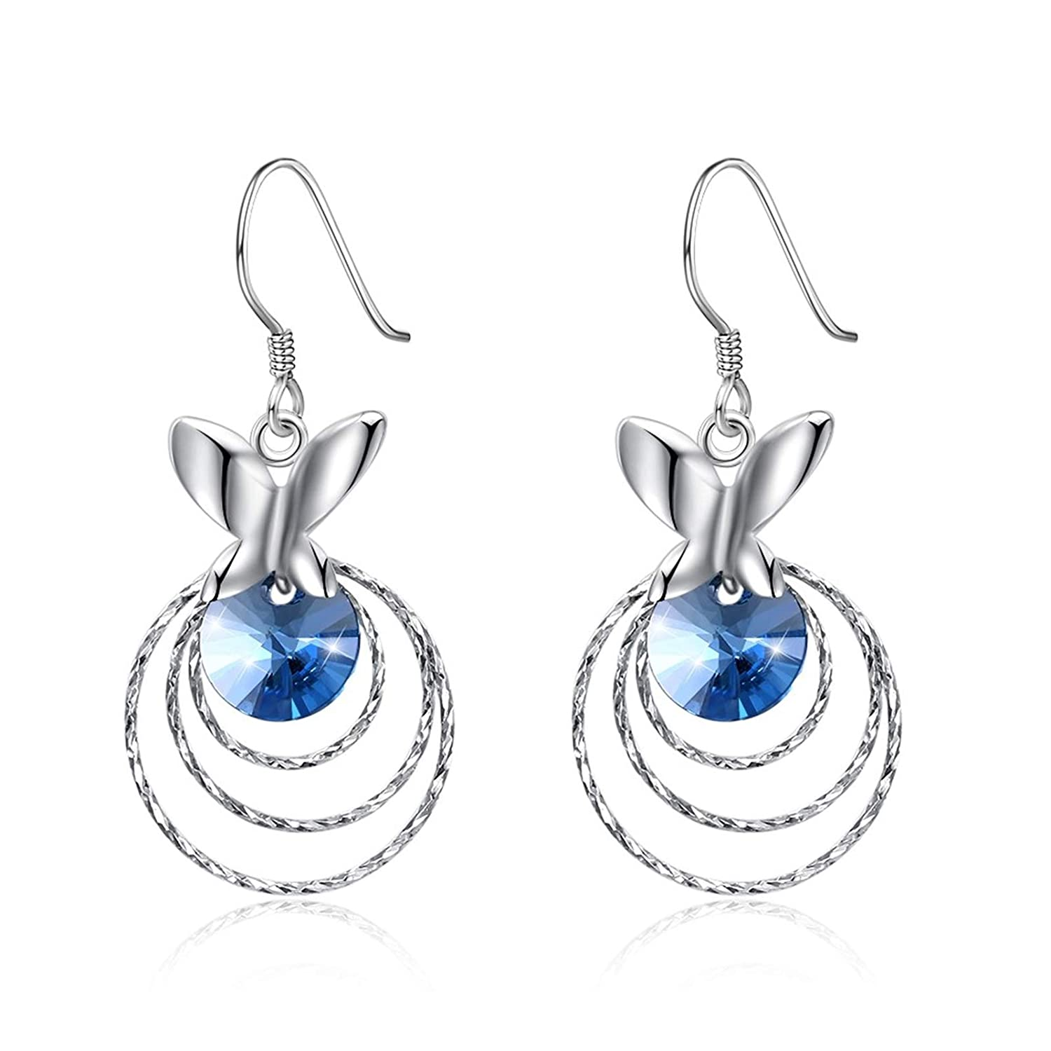 Adisaer Silver Plated Drop Earrings Rhinestone Fashion Round Blue Crystals Butterfly Earrings For Women Girls