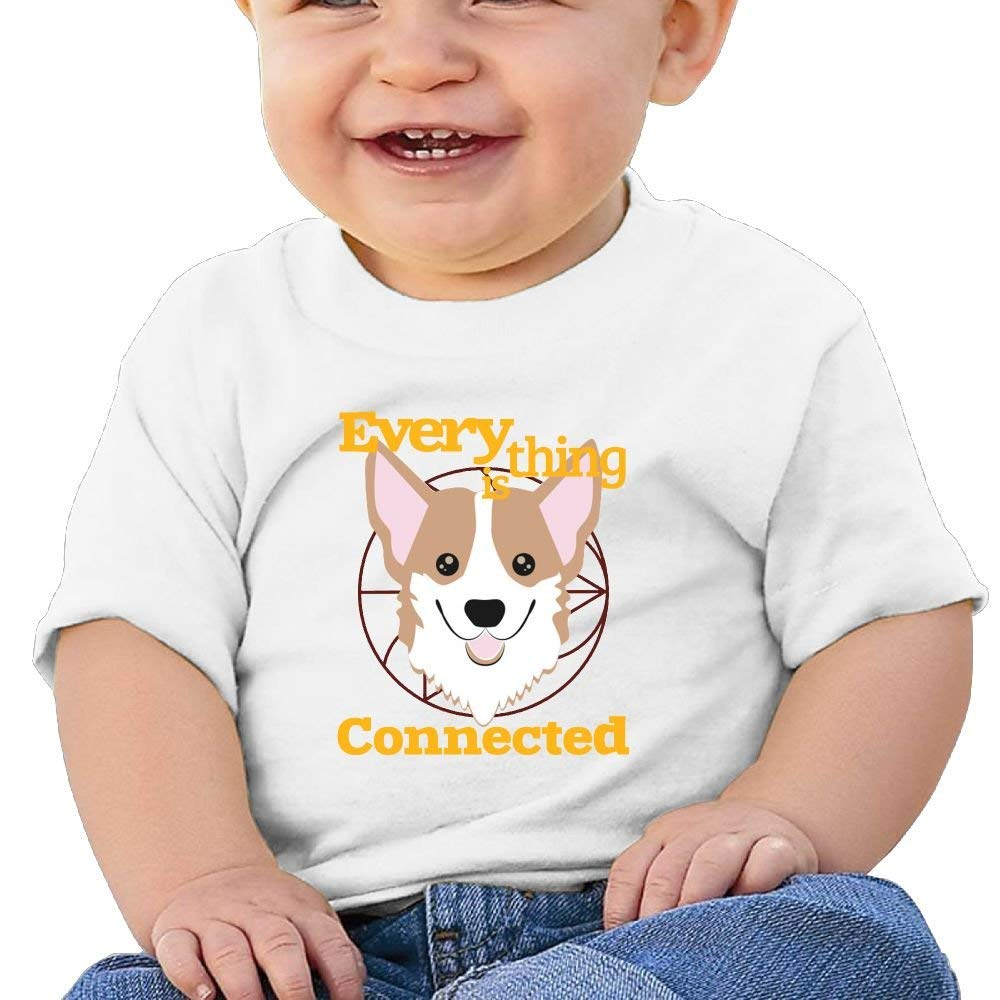 YXQMY Everything is Connected Dog Washed Cotton Baby Boy Shirt Cute Summer T Shirt Funny