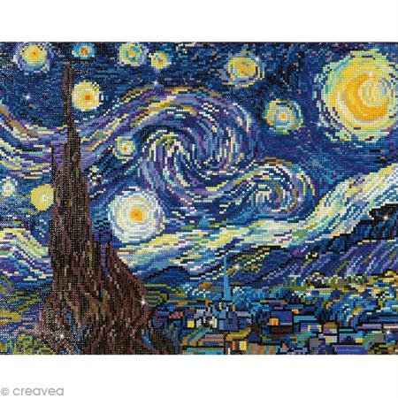 Needleart World Starry Night (Van Gogh) Diamond Embroidery Kit, Multicolor