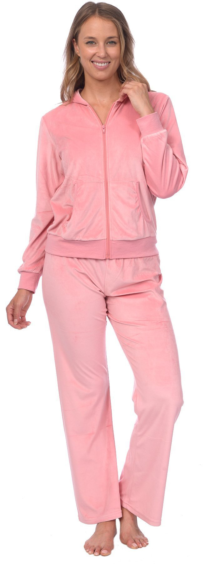 Pink Lady Womens Soft Velour Zip Hoodie and Bottoms Lounge Tracksuit (Pink Icing, M)