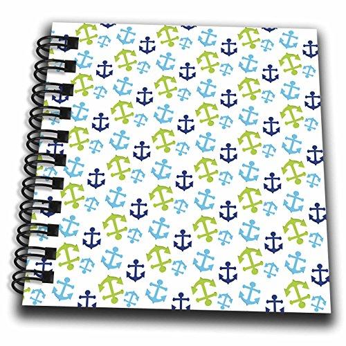 3dRose Anne Marie Baugh - Patterns - Cute Dark Blue, Light Blue, and Green Sailing Anchors Pattern - Mini Notepad 4 x 4 inch (db_274154_3)