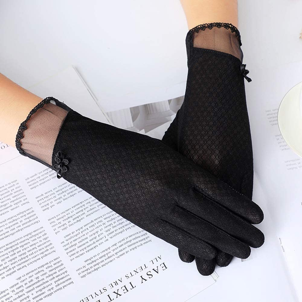 WE-WHLL Womens Summer UV Protection Lace Gloves Touch Screen Non-Slip Driving Mittens-Black