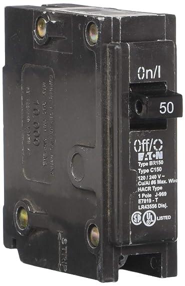 EATON CORPORATION BR150 Type Br Miniature Circuit Breaker, 120/240 Vac, 50 A, 1 P, 42 Ka