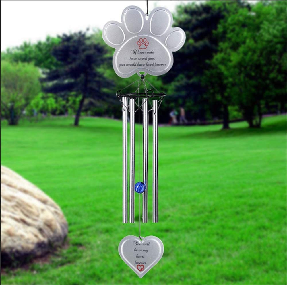 """BJB Dog Wind Chimes Memorial Gifts Outdoor or Indoor, Aluminum Pet Wind Chimes for Garden Patio Backyard, Sympathy Gift for a Grieving Pet Owner,18.9"""""""