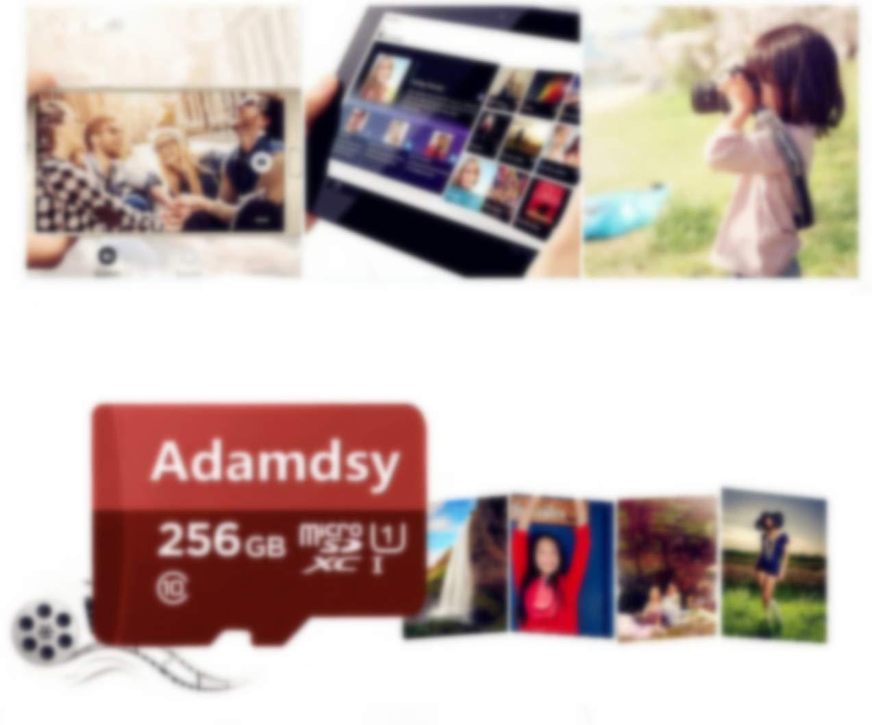 Adamdsy Tarjeta Micro SD 256 GB, microSDXC 256 GB Tarjeta De Memoria + Adaptador SD para cámaras, tabletas y Android Smartphones (K158-DR) (256 GB)