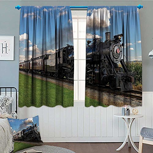 Train Window - SeptSonne-Home Steam Engine Patterned Drape for Glass Door Vintage Black Locomotive in Countryside Landscape Green Grass Puff Train Picture Waterproof Window Curtain 52