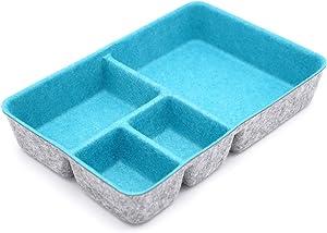 Welaxy Junk Drawer Organizer bin 4 Compartments Office Organizers Bins Felt Trays Drawers 4 dividers Multi-Purpose Storage (Turquoise)