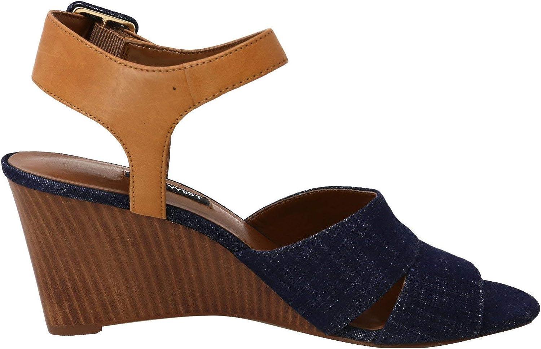 Nine West Femmes Sandales Compensées Bleu