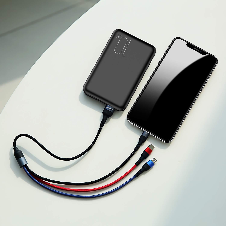 1 Pack Multi USB Cable,35CM//1FT 3 en 1 Multi Cable de Carga Nylon Multi Cargador Cable M/últiples Micro USB Tipo C para Phone 11//11 Pro//XR//XS,Samsung Galaxy S10//S9//S8//S7//S6,Huawei,Xiaomi,LG