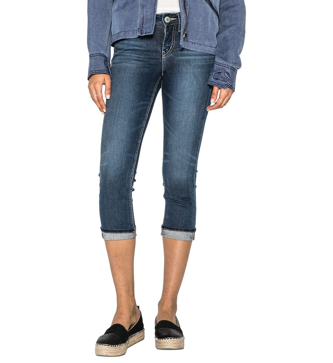 Silver Jeans Co. Women's Suki Curvy Fit Mid Rise Capri Silver Jeans Juniors L43920SSX460