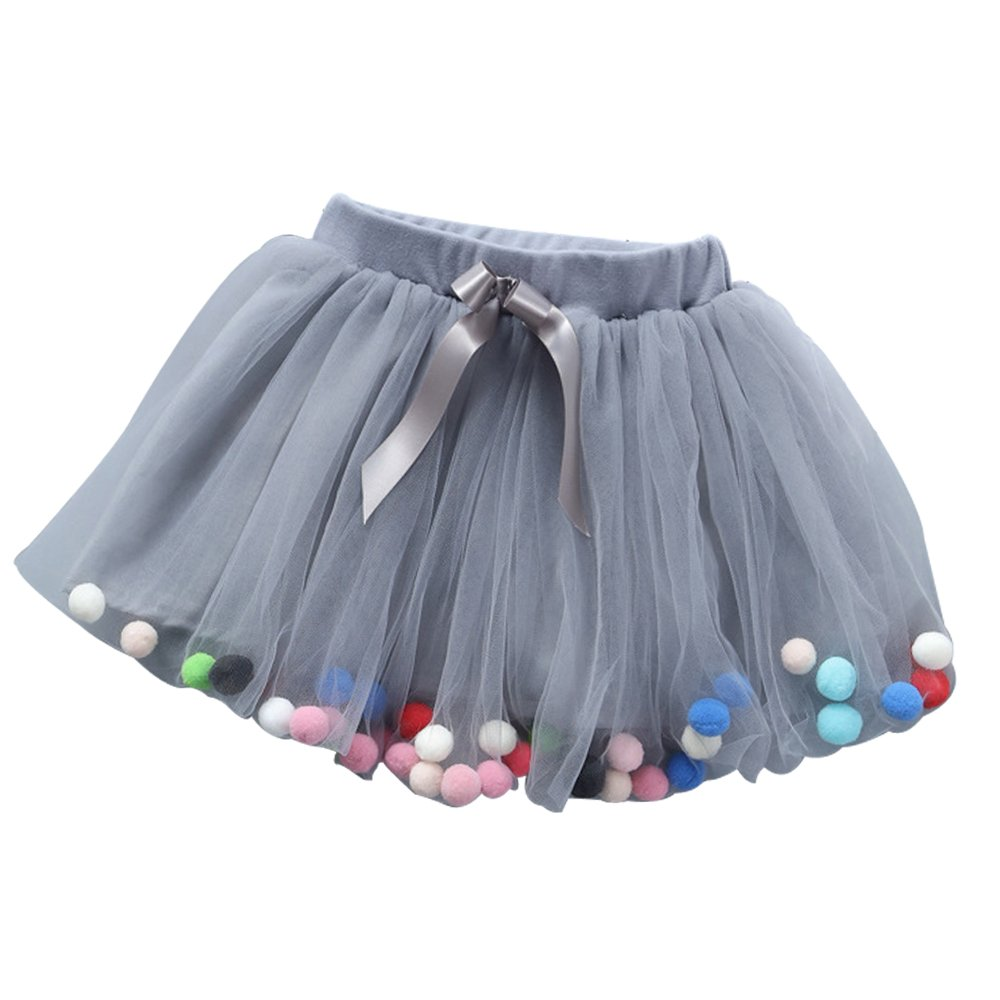 TraderPlus Baby Toddlers Girls Tulle Princess Dress Pom Pom Puff Balls Tutu Skirt