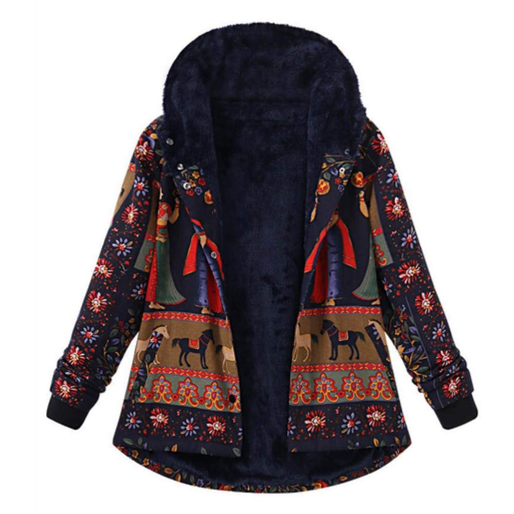 Dacawin Winter Sale-Women Ethnic Wind Printed Loose Cotton Warm Thicker Hasp Hooded Coat Outwear by Dacawin