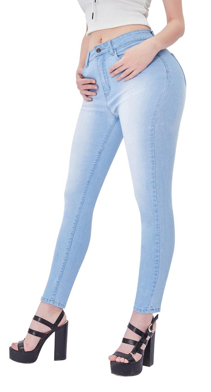 VICVIK Womens Waisted Knee Skinny Jeans Leggings Stretch Denim Butt Pants Pencil Jeggings (US 9, Light Blue)