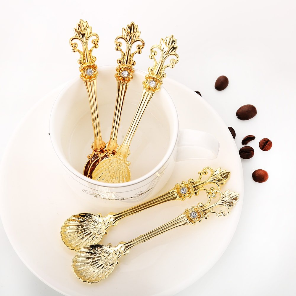 Sthetic Design 12pcs Retro Luxury Royal Style Metal Vintage Tea Spoon - Gold