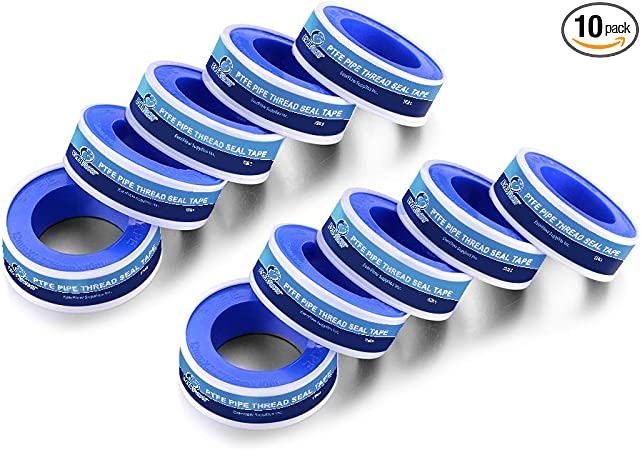 White 1//2 in Everflow 811 PTFE  Thread Seal Tape for Plumbers x 520 in.