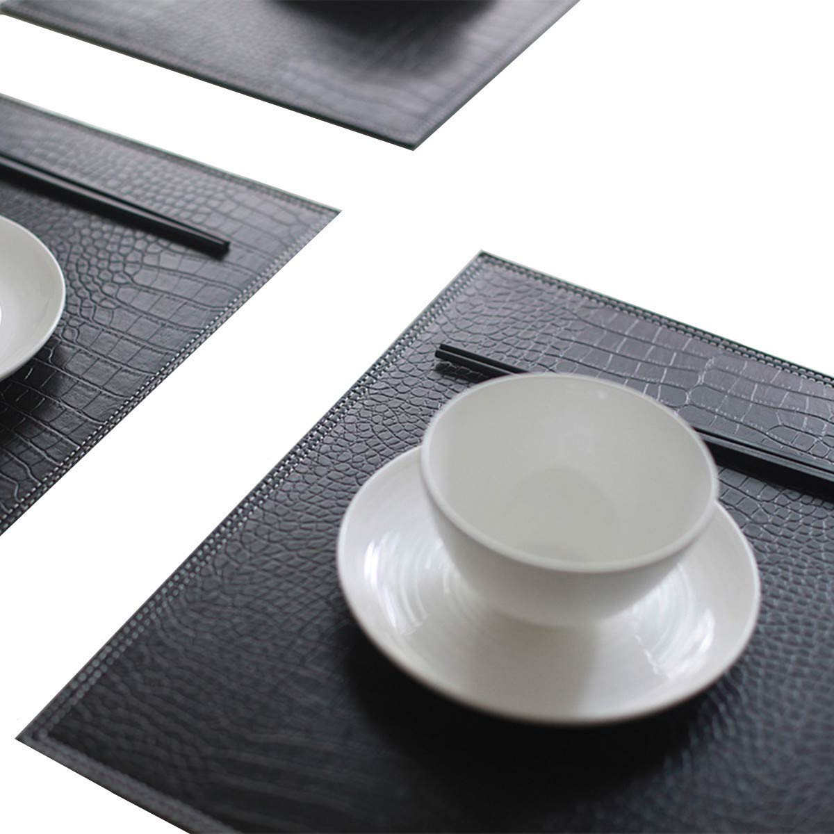 WILDFOUND XinFu Home Placemats Set of 4 Firm Faux Leather PU Heat & Stain Resistant Easy to Clean
