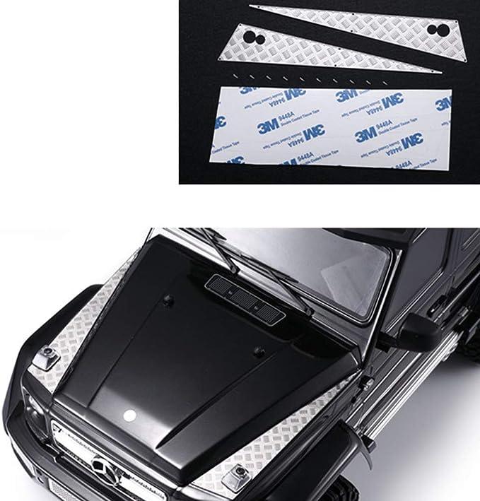 Greaked Decoración de acero inoxidable para capó de coche pegatina antideslizante placa placa para 1/10 TRAXXAS AMG TRX6 G63 TRX4 G500 RC piezas de ...