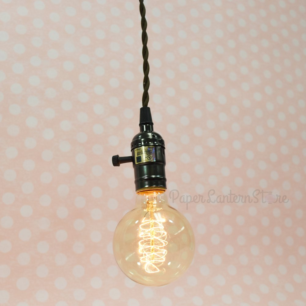 Com Fantado Vintage Gold Pendant Light Lamp Cord W Satin Brass Finish 11ft Braided Cloth By Paperlantern Home Kitchen