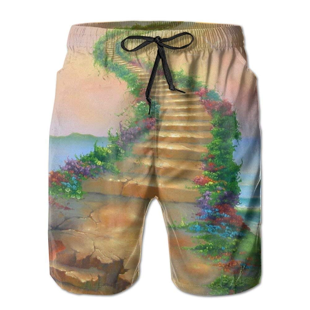 WZnWei Heaven Road Painting Casual Mens Shorts Beach Swim Trunk Summer