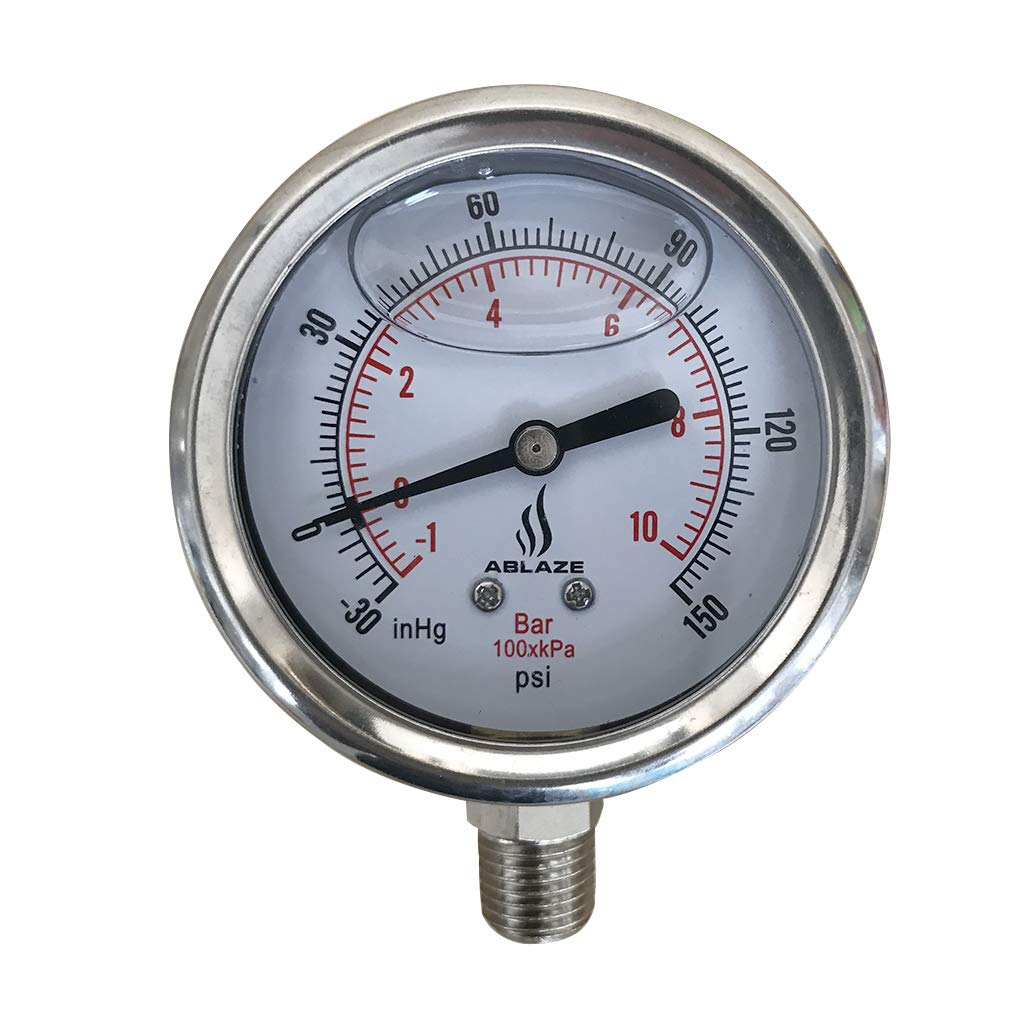 ABLAZE 2 1 2 Oil Filled Vacuum Pressure Gauge 1 4 NPT Lower Mount
