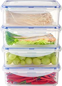 KSLE 4 Pack Plastic Food Storage Containers with Lids 4.8 Cup BPA Free Stackable Vegetable and Fruit Storage Containers for Fridge Meal Prep Container Refrigerator Containers for Cheese, Meat and Fish