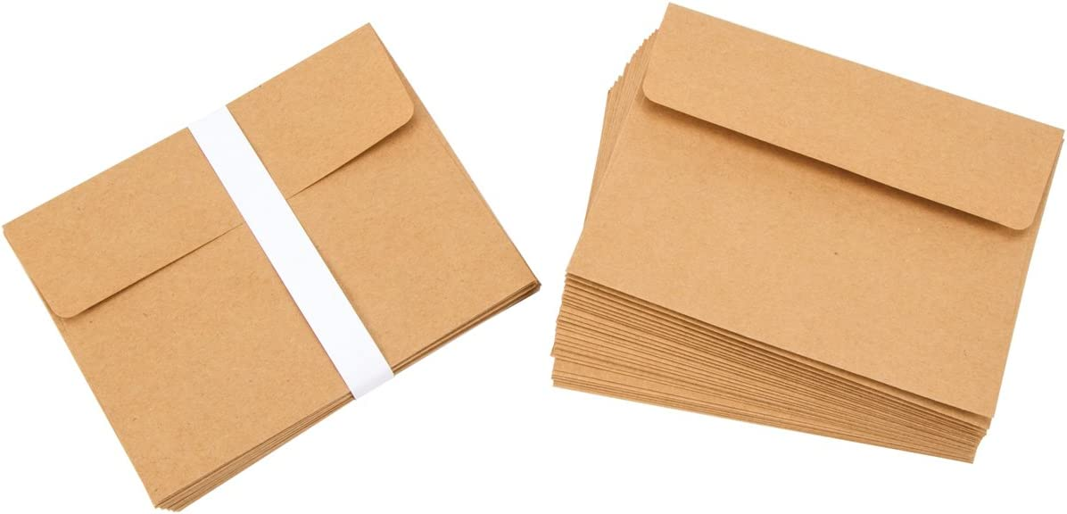 "Darice A2 Kraft Paper Blank Cards and Envelopes (50 Sets) – Perfect for DIY Invitations, Cards, Notes and More – Ready to Decorate or Run Through Printer – Card 4.25""x5.5"", Envelope 4.37""x5.75"""