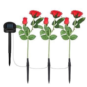 TAOtTAO 1 Juego de Flores de Rosas con luz Solar para jardín, luz LED para decoración de Patio: Amazon.es: Deportes y aire libre