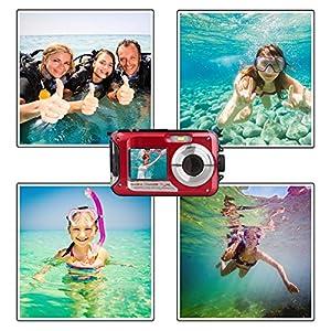 Waterproof Point and Shoot Digital Cameras,24MP 1080P Dual Screen Underwater Video Recorder Digital Camera-Red by Suntak