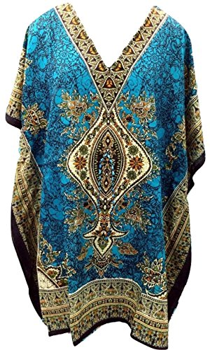 RiSi Women's Short Kaftan, V-Neck Kimono Tunic, Casual Dress One Size / Free Size Teal Blue