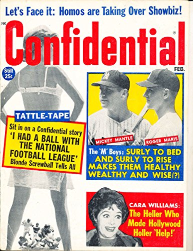Feb 1962 Confidential Magazine Mickey Mantle Roger Maris BBmag2