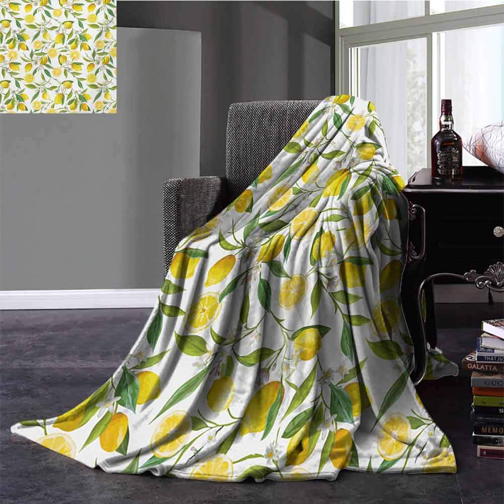 Nature Silky Soft Plush Blanket Exotic Lemon Tree Branches Yummy Delicious Kitchen Gardening Design Warm Microfiber All Season Blanket Twin Size Fern Green Yellow White 60x70 Inch