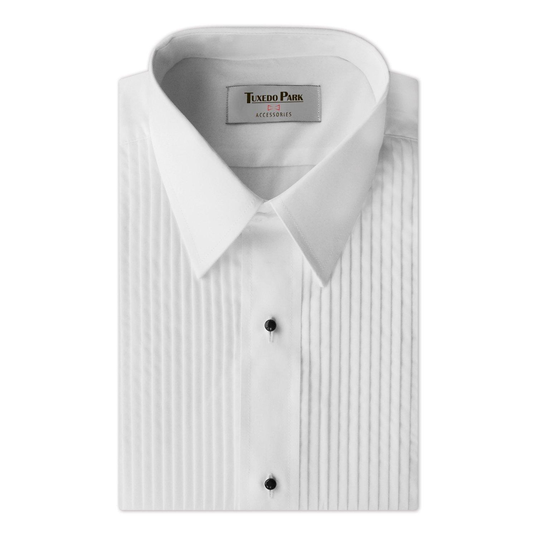 Tuxedo Shirt- Boys White Laydown Collar 1/4'' Pleat Shirt (BM (Ages 10-12))