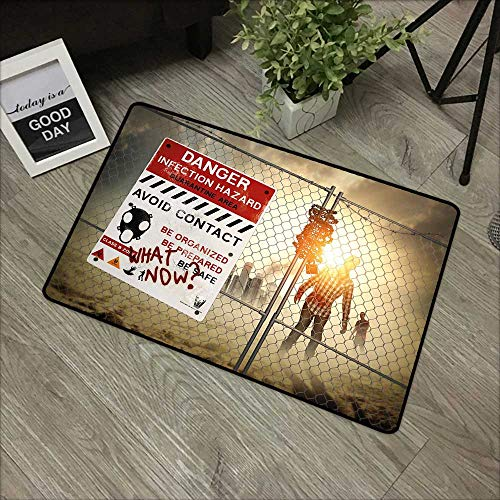 Pool anti-slip door mat W35 x L47 INCH Zombie Decor,Dead Man Walking Dark Danger Scary Scene Fiction Halloween Infection Picture,Multicolor Easy to clean, no deformation, no fading Non-slip Door Mat C