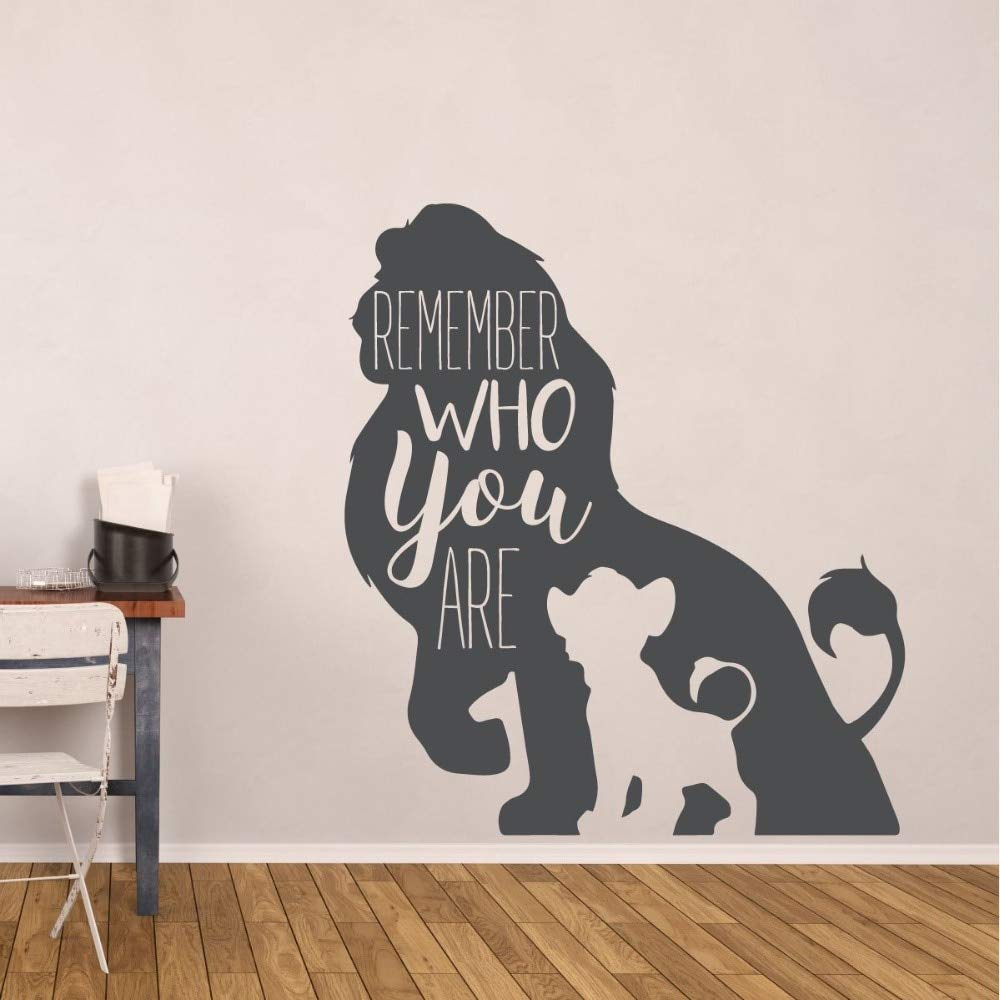 Lion King Wall Sticker Simba and Mufasa Vinyl Wall Decal Kids Room Decoration Remember Who You Are Quote Wall Art Mural 42x47cm