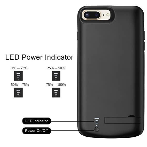 iPhone 6P/7P/8P Battery Case,8000mAh Wireless Phone Charger Case Portable Rechargeable Extended Battery Pack Protective Packup Charging Case for ...