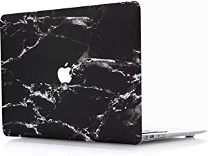 MacBook Air 13 Inch Case 2018-2020 Release A1932 A2179 A2337M1 Marble - AQYLQ Plastic Hard Case Rubber Coated Protective Cover for MacBook Air 13 Inch with Retina Touch ID - Black and White Marble
