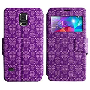 AADes Scratchproof PU Leather Flip Stand Case Samsung Galaxy S5 V SM-G900 ( Violet Skull )