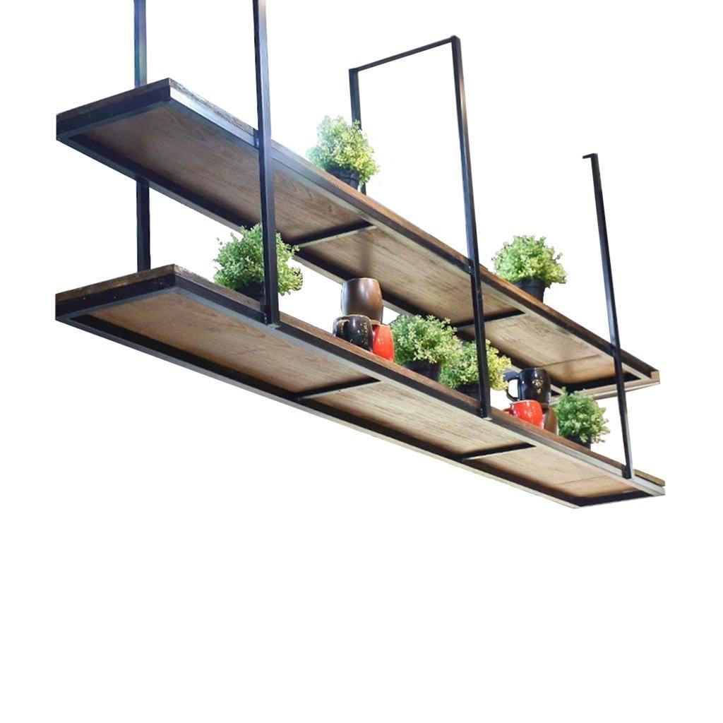 レトロ天井タイプフラワースタンドソリッドウッド&アイアン壁掛け壁棚吊り天井収納ラック(レストランと家庭用) - キャビネットラック&シェルフ (サイズ さいず : 120×30×80cm) B07DNB2DB9 120×30×80cm  120×30×80cm