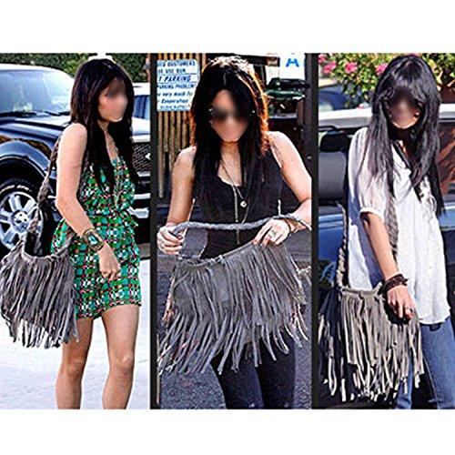 Stilvolle Frau Lady Fashion Tasche einzigen Schulter Quaste Messenger Bag grau