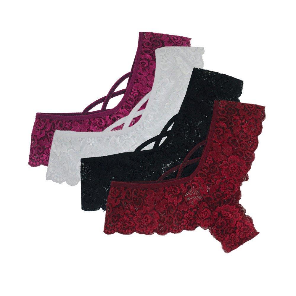 Luckycat Mujer Braguitas de Encaje de Ropa Interior sin Costuras de lencer/ía de poca Altura de para Damas Paquete de 6
