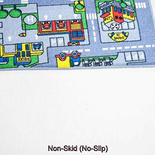 Kids Rugs Street Map in Grey 8' X 11' Childrens Area Rug - Non Skid Gel Backing (7'10'' X 11'3'') by Mybecca (Image #3)