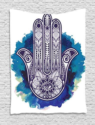 stry Ethnic Decor, Hamsa Hand of Fatima Good Luck Symbol Oriental Ornament Meditation, Bedroom Living Girls Boys Room Dorm Accessories Wall Hanging Tapestry, Pink Blue White ()