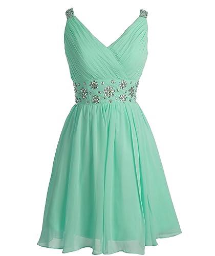 Fashion Plaza Short Straps Bridesmaid Dresses Pleated Beading Belt Prom Dress D0324