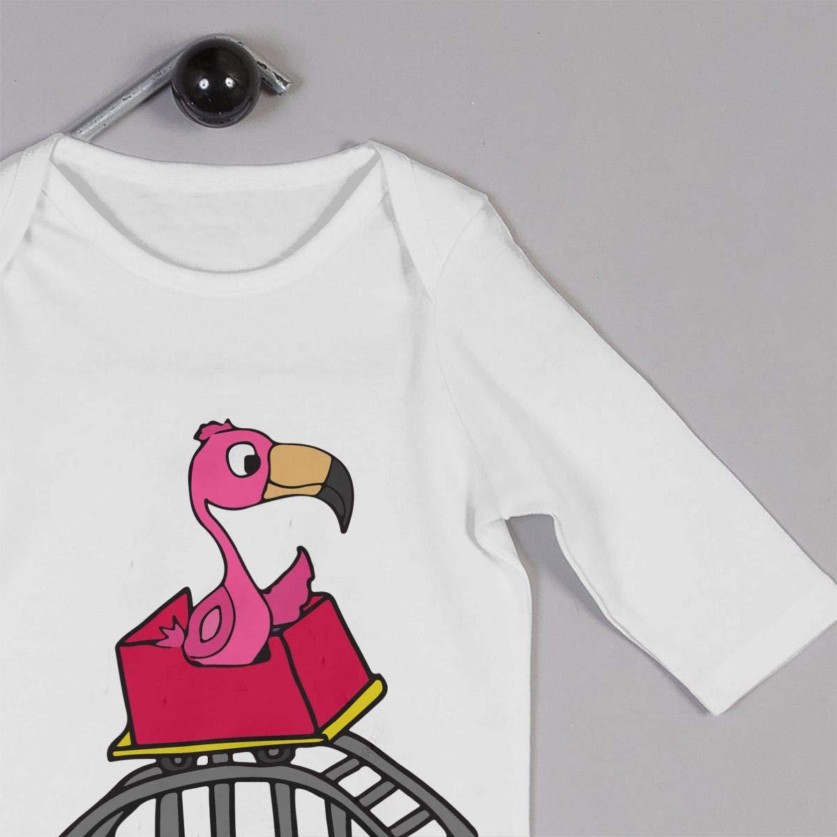 LBJQ8 Pink Flamingo Riding Roller Coaster Newborn Baby Girl Infant Organic Cotton Pajamas Sleeper