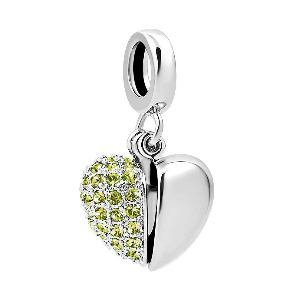Mel Crouch I Love You Dangle Charms Simulated Birthstone 925 Sterling Silver Charm Beads for Bracelets